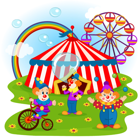 lustige Clowns und Zirkus