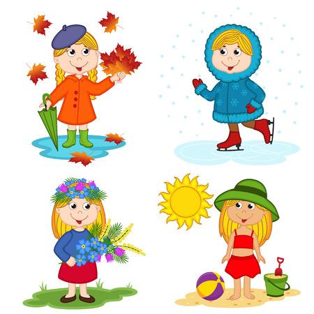 estaciones del año: niña y las cuatro estaciones