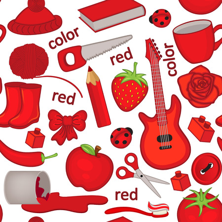 seamless pattern with red objects