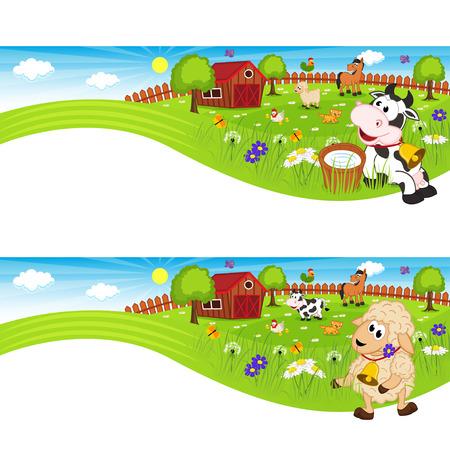 due striscioni con animali da fattoria in cortile Vettoriali