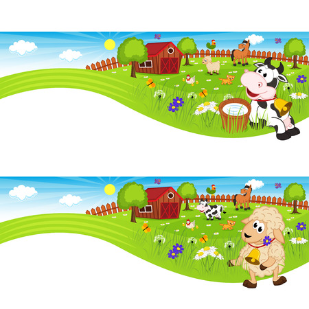 two animals: two banners with farm animals in barnyard