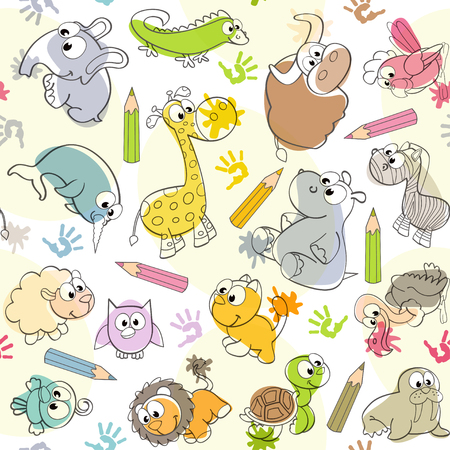 seamless pattern with kids drawings of animals