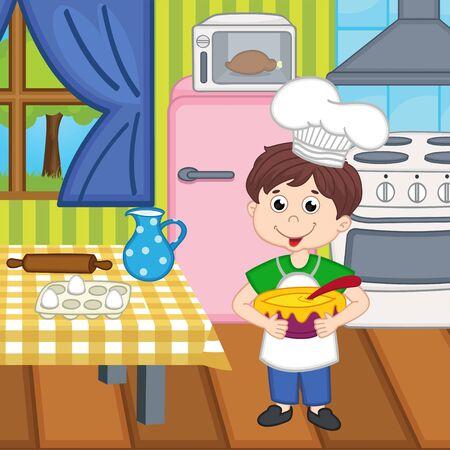 Junge Koch Mittagessen vorbereitet