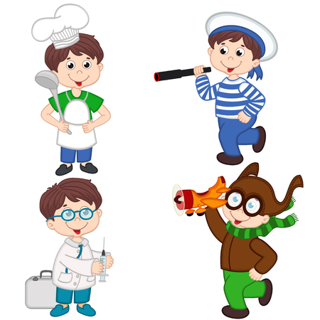 stethoscope boy: boy in various professions cook, sailor, doctor, pilot - vector illustration, eps