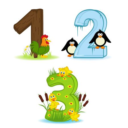 numero uno: conjunto de números con número de animales