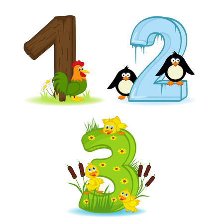 set of numbers with number of animals Vector Illustration