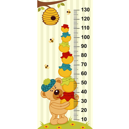tallness: teddy bear holding pots of honey Illustration