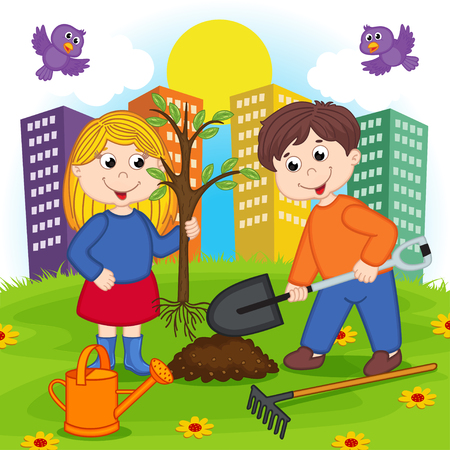 planting tree: boy and girl is planting tree Illustration
