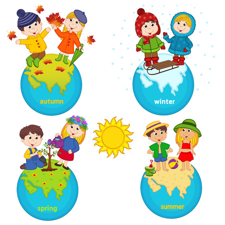 children and four seasons on the planet