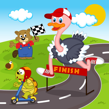 between: race between ostrich and turtle Illustration