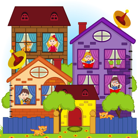 cartoon window: home with the children in the windows Illustration