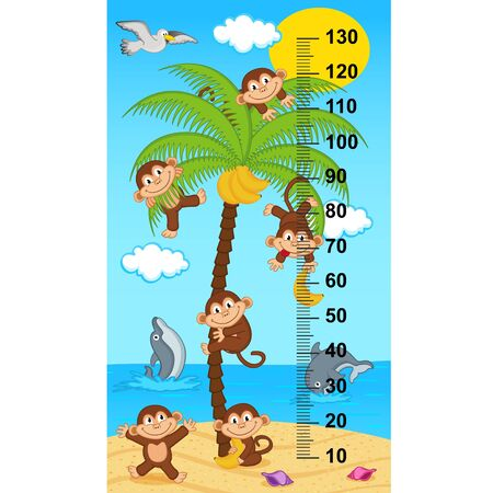 tallness: palm tree height measure with monkeys (in original proportions 1: 4) - illustration