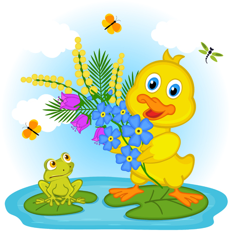 mimosa: duckling with flowers - illustration Illustration