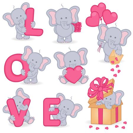 collection: colección de elefante lindo del día de San Valentín - ilustración vectorial, EPS