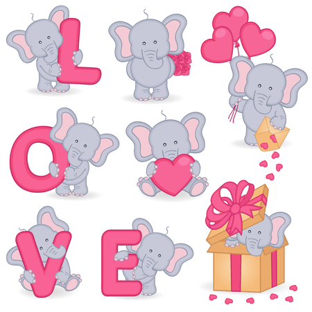 illustration collection: collection of cute valentine elephant - vector illustration, eps Illustration