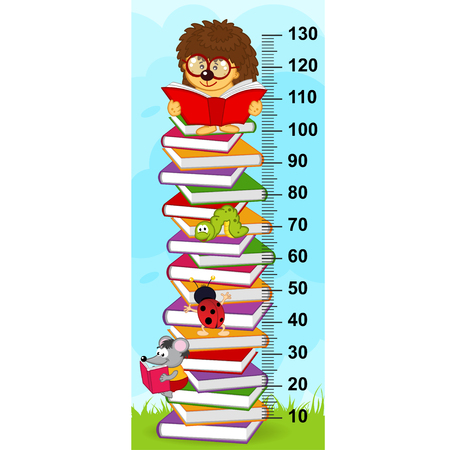 tallness: stack of books height measure (in original proportions 1: 4) Illustration