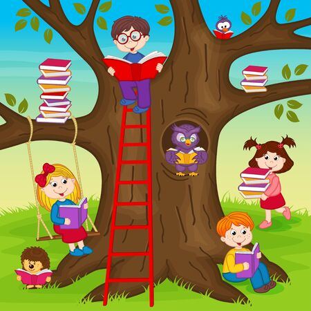 reading books: children are reading books on a tree