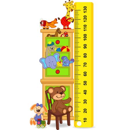 Holzgehäuse mit Spielzeug, das Kind Wachstum messen (in ursprünglichen Proportionen 1: 4) Standard-Bild - 58941935