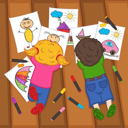 zeichnen: Kinder zeichnen auf dem Boden