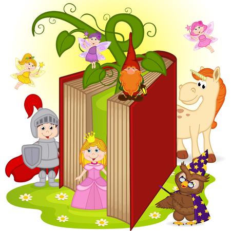 libros volando: reserva con personajes de cuentos de hadas