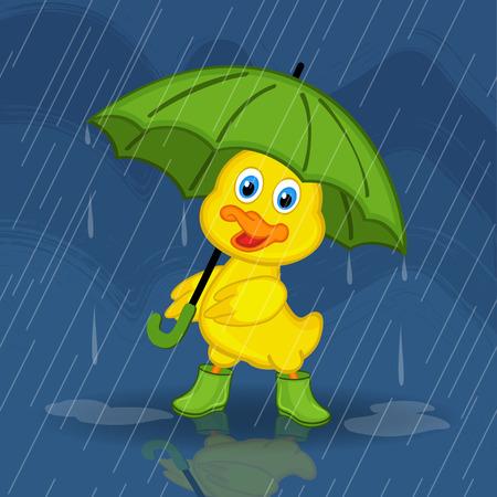 duckling hiding from rain under umbrella