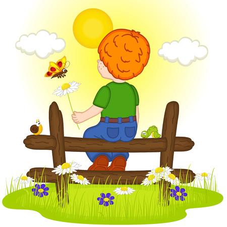 children caterpillar: redhead boy looks at sunset