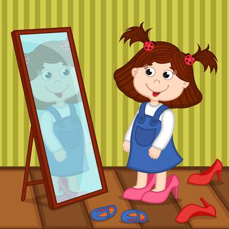 chica en tacones se ve en el espejo