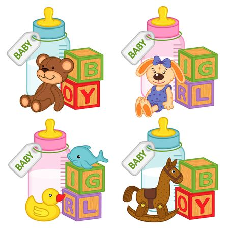 pink dolphin: toys and accessories for baby girls and boys - vector illustration