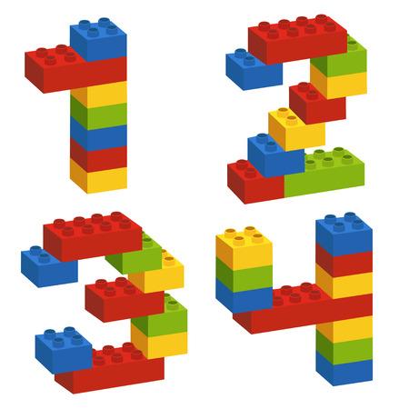 un conjunto de números del constructor del 1 al 4 - ilustración vectorial