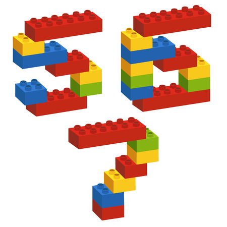 constructor: set of numbers from constructor from 5 to 7 - vector illustration