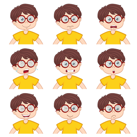 child laughing: boy faces showing different emotions - vector illustration Illustration