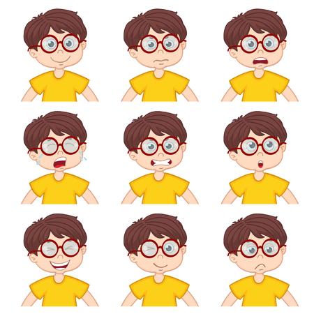 ashamed: boy faces showing different emotions - vector illustration Illustration