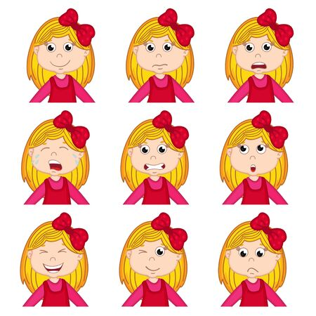 resentment: girl faces showing different emotions - vector illustration Illustration