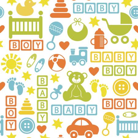 sin patrón, con iconos para el bebé - ilustración vectorial
