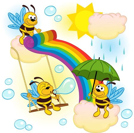 sway: bees playing in sky with a rainbow