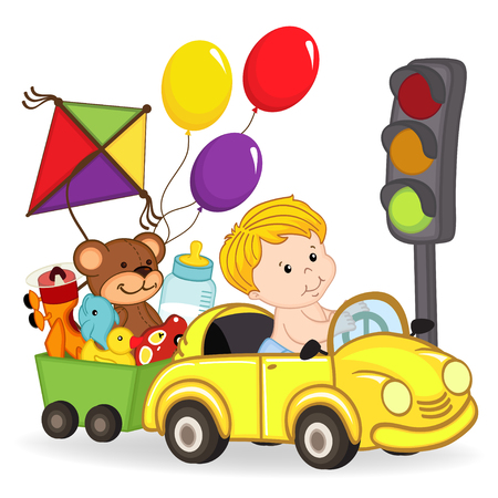 baby boy by car with toys Illustration