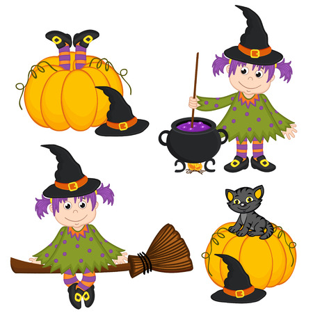 cartoon kid: set of isolated Halloween witch and black cat