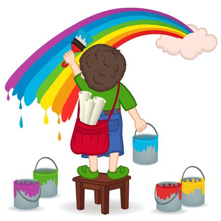 Jongen schilderij regenboog