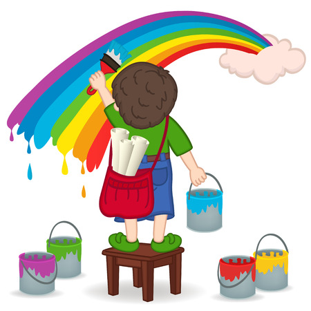 boy painting rainbow