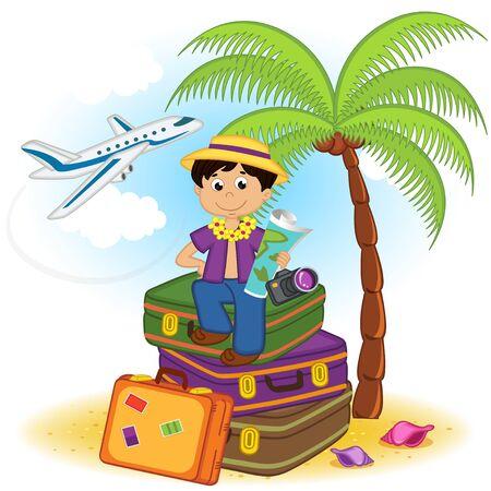 boy arrived on summer holiday on the sea Illustration