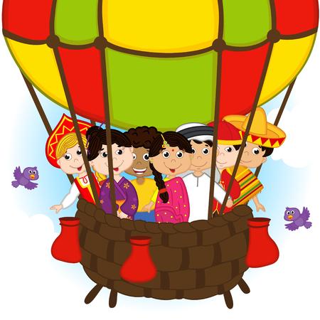 niños de diferentes razas: gente multicultural en un globo Vectores
