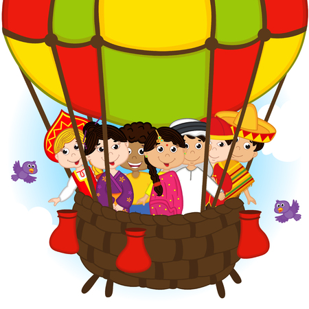 indian family: multicultural people on one balloon