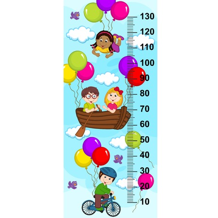 tallness: Children in the sky on a bicycle, boat flying on balloons (in original proportions 1: 4)