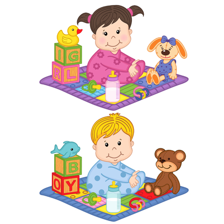 baby sit: baby boy and girl sit on the carpet with toys