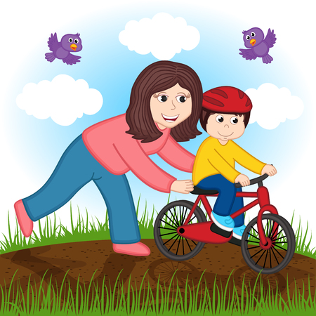mother teaches a child to ride a bike