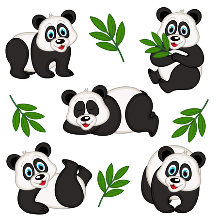 set of isolated panda 向量圖像