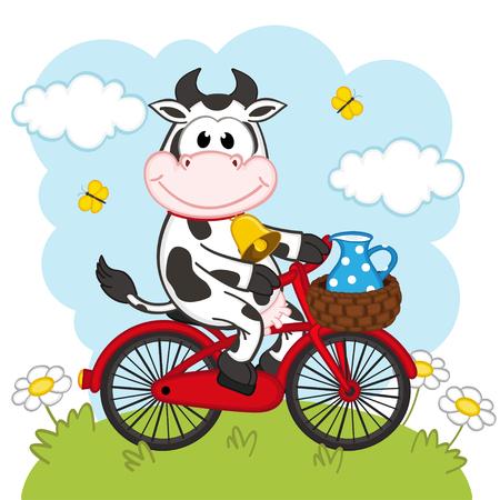 koe rijden op een fiets met melk