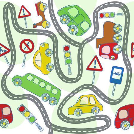 naadloze patroon met auto's en verkeersborden