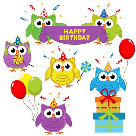 postcard box: set of isolated owl birthday