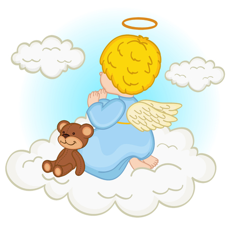 baby angel: angelo bambino sulla nube